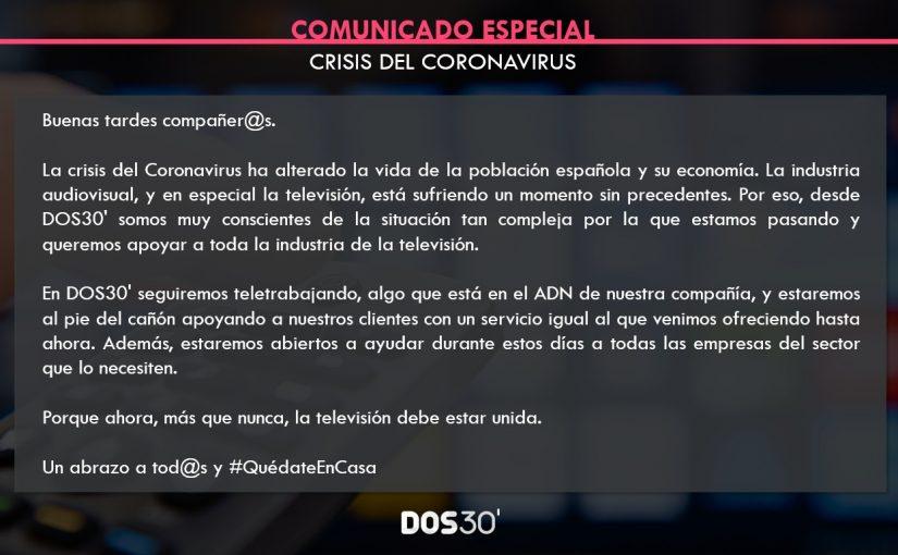 COMUNICADO ESPECIAL CORONAVIRUS